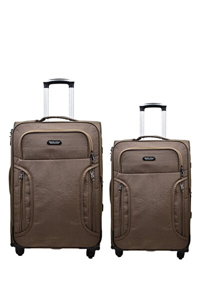 Anka 2'li Valiz Seti Travel Polo Krinkıl Kumaş Orta Boy Ve Kabin Boy Vizon 2'li Set