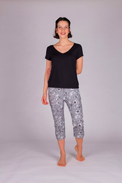 Hays Kadın Gri Baskılı Kapri Pijama Takımı