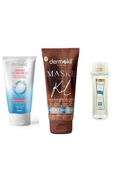 Dermokil Sıkılaştırıcı Kahveli Maske, Temizleme Jeli, Karma Tonik 3'lü Set