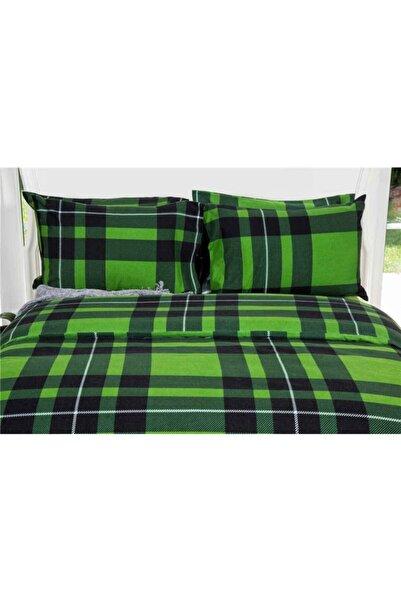 Maki 240x220 %100 Pamuk Flanel (pazen) Battal Boy Nevresim Ve Yastık Kılıfı Seti Yeşil Ekose