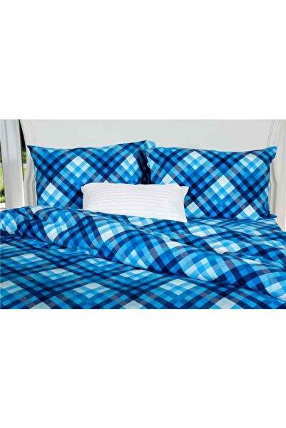 Maki 240x220 %100 Pamuk Flanel (pazen) Battal Boy Nevresim Ve Yastık Kılıfı Seti Mavi Ekose