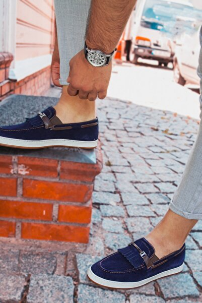 DeepSEA Erkek Lacivert Demir Tokalı Deri Ayakkabı 2001809