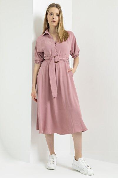 Foremia Kadın Pudra Tokalı Kolu Lastikli Aerobin Keten Elbise