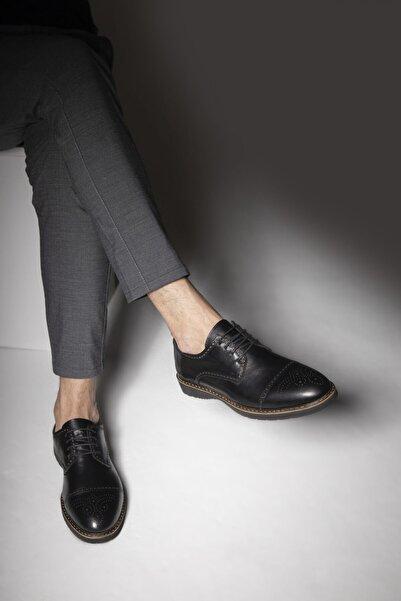 DeepSEA Erkek Siyah Bağcıklı Deri Ayakkabı 2001800