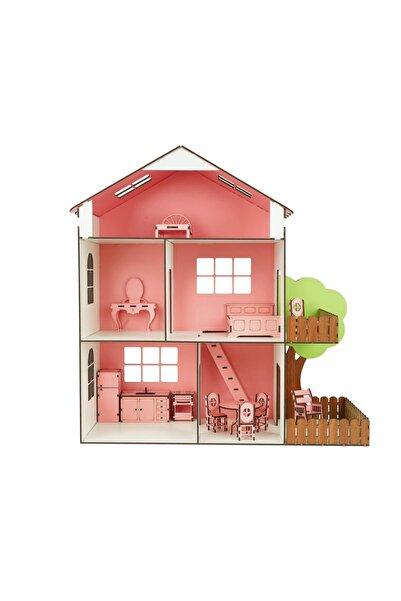 interGO Ahşap Oyun Evi Mobilyalı Oyuncak Ev