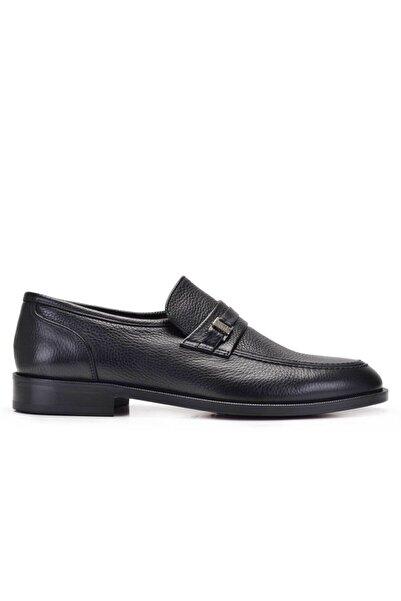 Nevzat Onay Erkek Siyah Hakiki Deri Klasik Loafer Kösele Ayakkabı -11678-