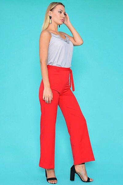 Mossta Kadın Kırmızı Kemerli Bol Pantolon