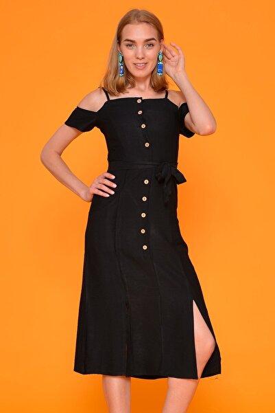 Mossta Kadın Siyah İp Askı Keten Elbise