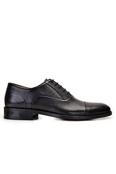 Erkek Siyah Hakiki Deri Klasik Bağcıklı Kösele Ayakkabı -9131-