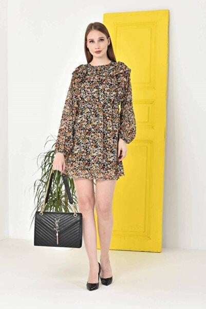 Mossta Kadın Sarı Astarlı Şifon Elbise