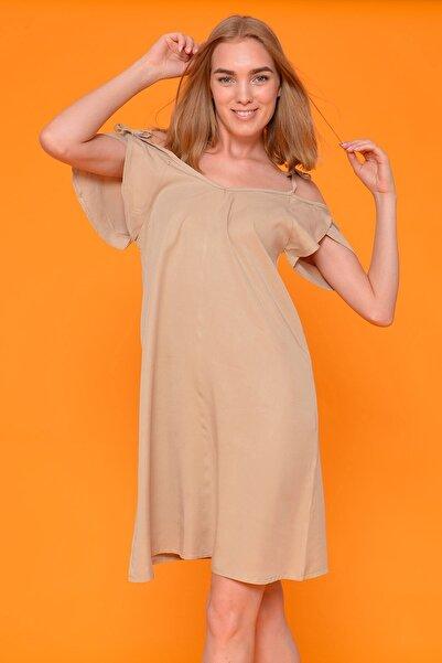 Mossta Kadın Bej Omuz Bağlamalı Elbise