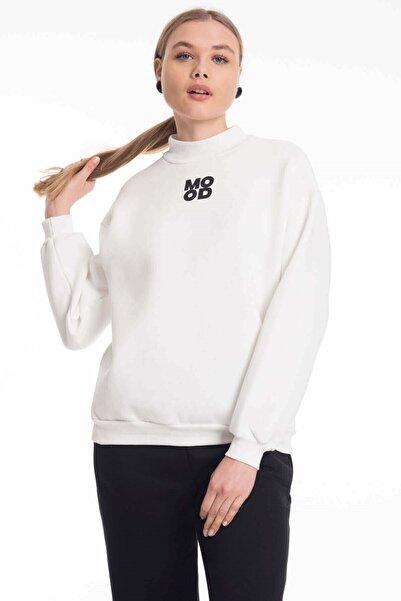 Mossta Kadın Beyaz Dik Yaka Baskılı Kalın Sweatshirt