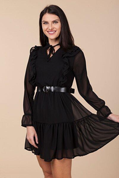 Mossta Kadın Siyah Bel Lastikli Fırfırlı Elbise