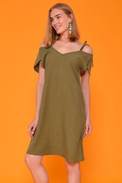 Mossta Kadın Haki Omuz Bağlamalı Elbise