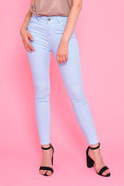 Mossta Kadın Mavi Yüksek Bel Gabardin Pantolon