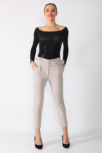 Mossta Kadın Gri Kemerli Taş Kumaş Pantolon