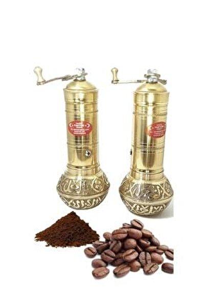Pirinç Işlemeli Uzun Tombul Kahve Öğütücü El Değirmeni