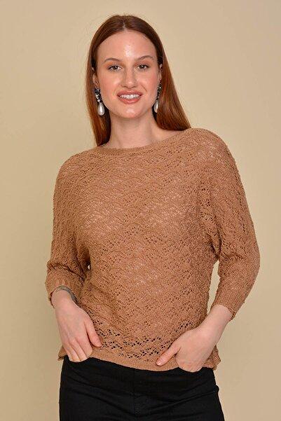Mossta Kadın Bej Yarasa Kol Ajurlu Bluz