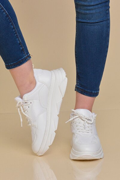 Mossta Kadın Beyaz Kalın Taban Spor Ayakkabı