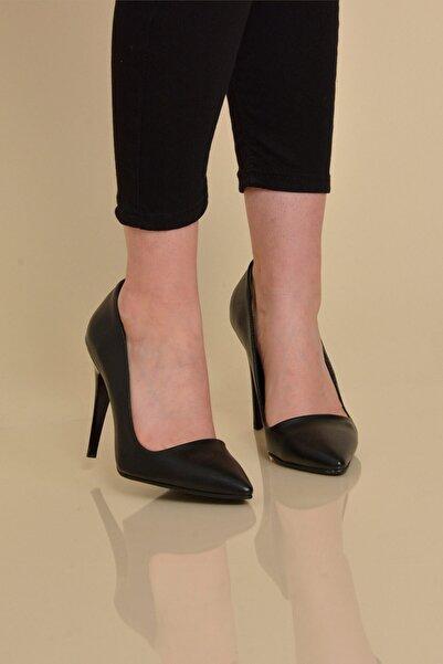 Mossta Kadın Siyah Deri Stiletto