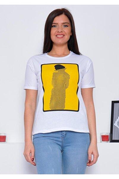 Mossta Kadın Beyaz Taş Baskılı T-shirt