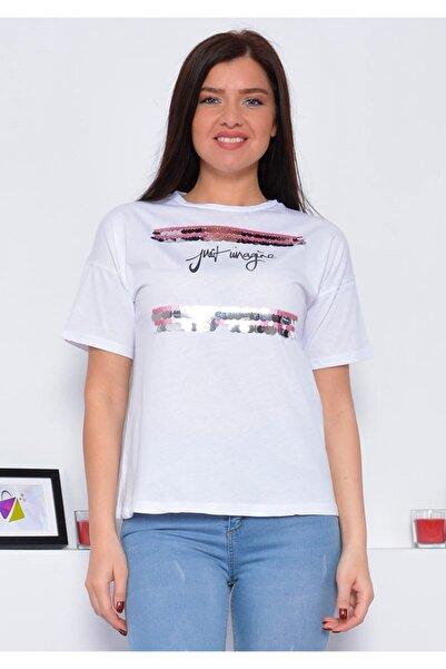 Mossta Kadın Beyaz Payetli T-shirt