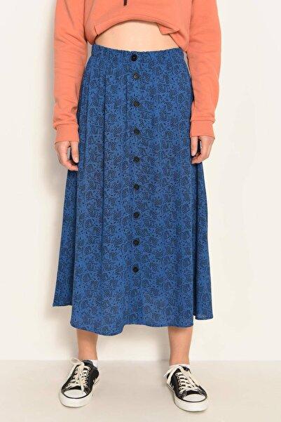 Addax Kadın mavi Düğmeli Midi Boy Etek ÇİÇ E8044 - DK2 ADX-0000022946