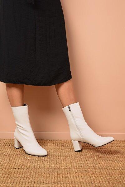 Shoes Time Kadın Beyaz Topuklu Bot