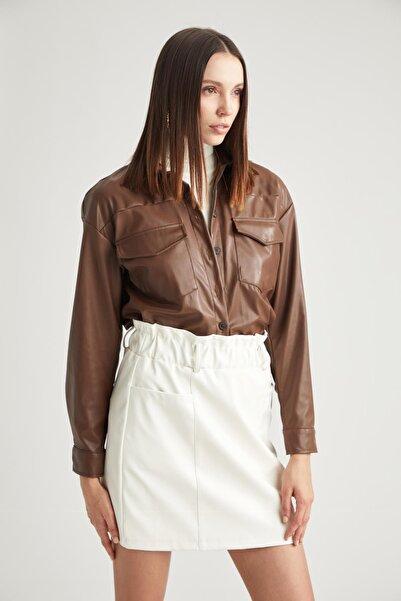 DeFacto Kadın  Kahverengi Deri Görünümlü Oversize Gömlek