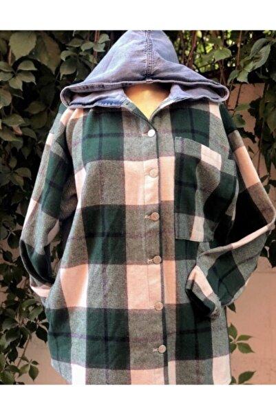 BENETO Kadın Bej Kapüşonlu Ekose Ceket