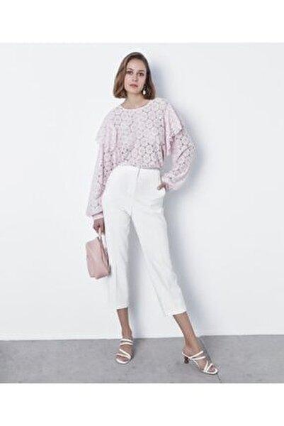 Kadın Pembe Fırfır Şeritli Dantel Bluz