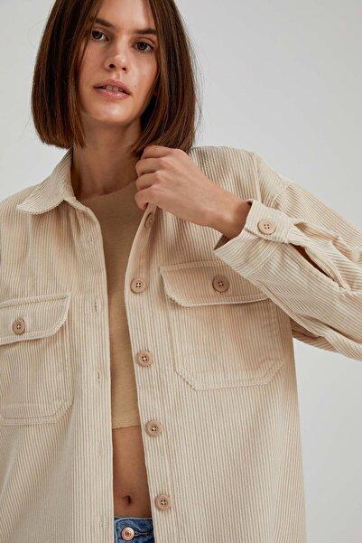 DeFacto Kadın Ekru Çizgili Kadife Oversize Gömlek Ceket