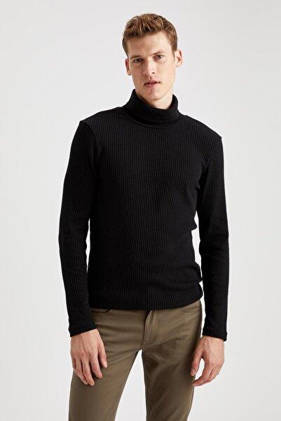 DeFacto Erkek Siyah Balıkçı Yaka Uzun Kollu Slim Fit Tişört