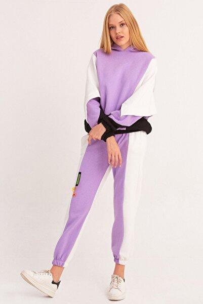 Fulla Moda Kadın Mor Parçalı Oversize Eşofman Takımı