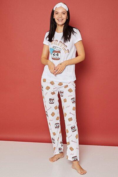 Arma Life Kadın Kahverengi Baskılı Pijama Takımı