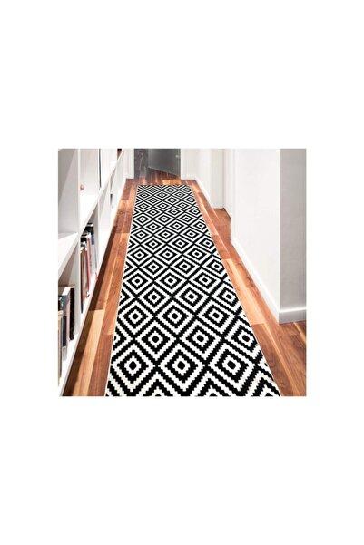 Merinos Aksu Piramit Desen 100 X 240 Cm Siyah Beyaz Renkkaymaz Taban Halı Yolluk