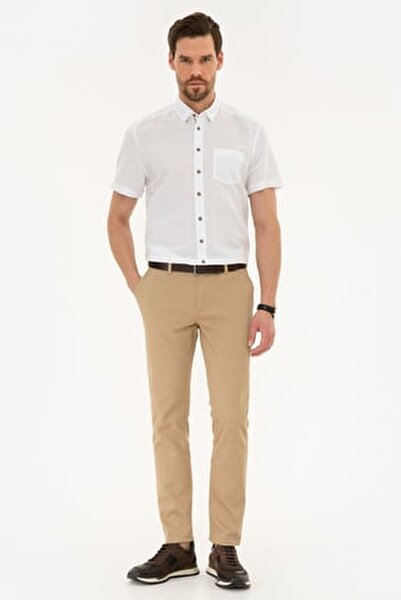 Erkek Camel Slim Fit Chino Pantolon