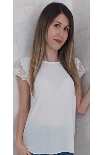 Mercan Kadın Krem Sırtı Desenli Bluz