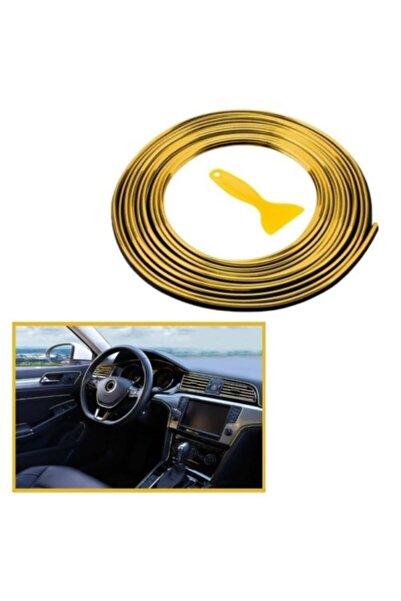 Trim Oto Araç Dekorasyon Şeridi Kauçuk Elastik Kolay Kurulum 5 Metre Şerit Bant Gold Renk