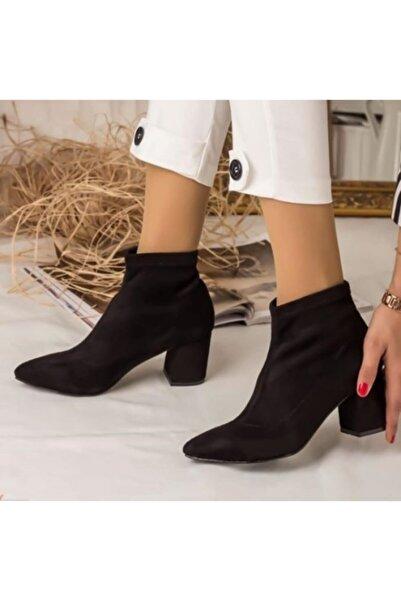 İNCEAYAKKABI Siyah Süet Çorap Bot