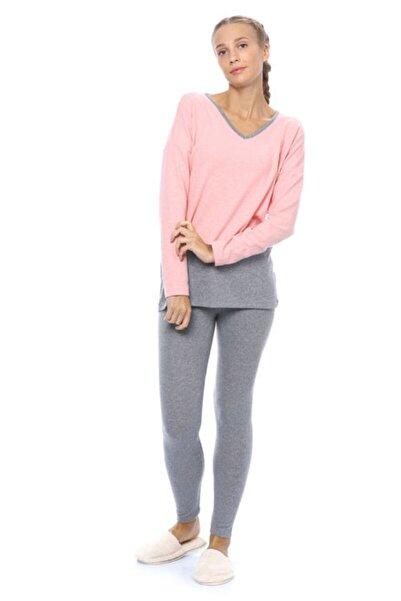 Blackspade Kadın V Yaka Uzun Pijama Takımı - 50056 - Pembe