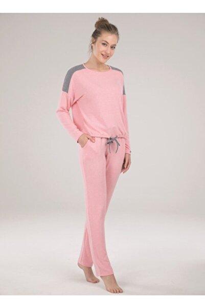 Blackspade Kadın Pembe Yuvarlak Yaka Uzun Pijama Takımı