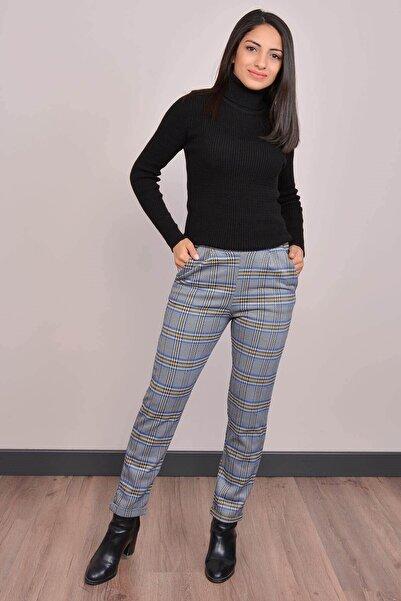 Mossta Kadın Mavi Yüksek Bel Ekose Pantolon Gm2068