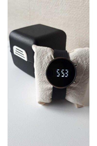 WatchArt Unisex Gümüş Kasa Siyah Silikon Kordonlu Dijital Kol Saati Og806gmsyh