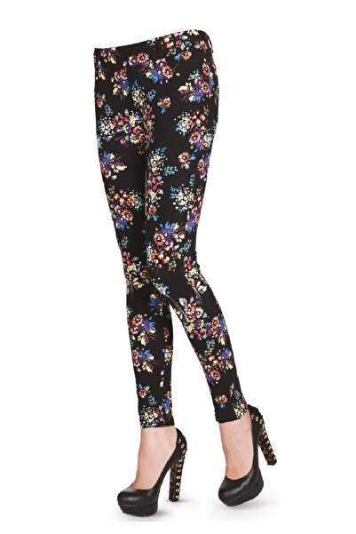 FSM1453 Kadın Siyah Pamuklu Likralı Çiçekli Jean Pantolon Tayt
