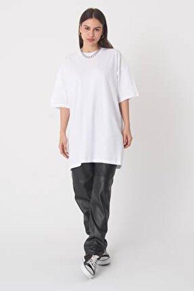 Kadın Beyaz Oversize Tişört P0731 - İ5 ADX-0000020596