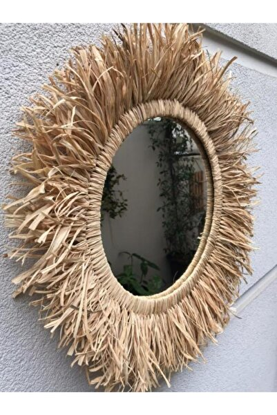 Cs Bohem Design Zambia Doğal Rafya Ayna Dekor - 50 Cm