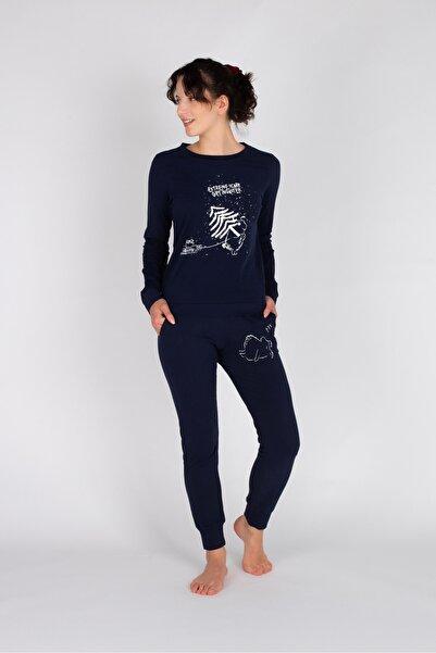 Hays Kadın Lacivert Uzun Pijama Takımı