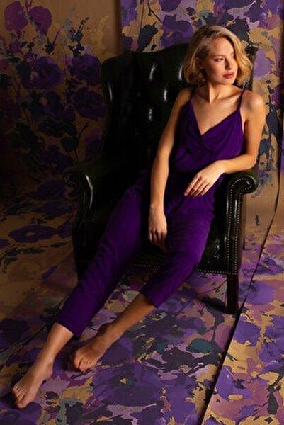 Kadın Mor Vegan Uzun Pijama Takımı