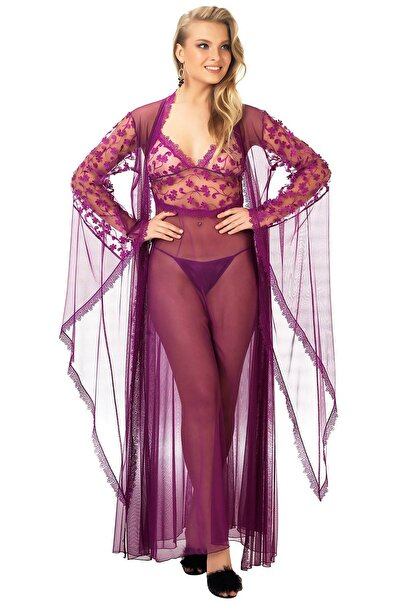 Mite Love Kadın Mor Fransız Dantelli Gecelik Fantezi Giyim